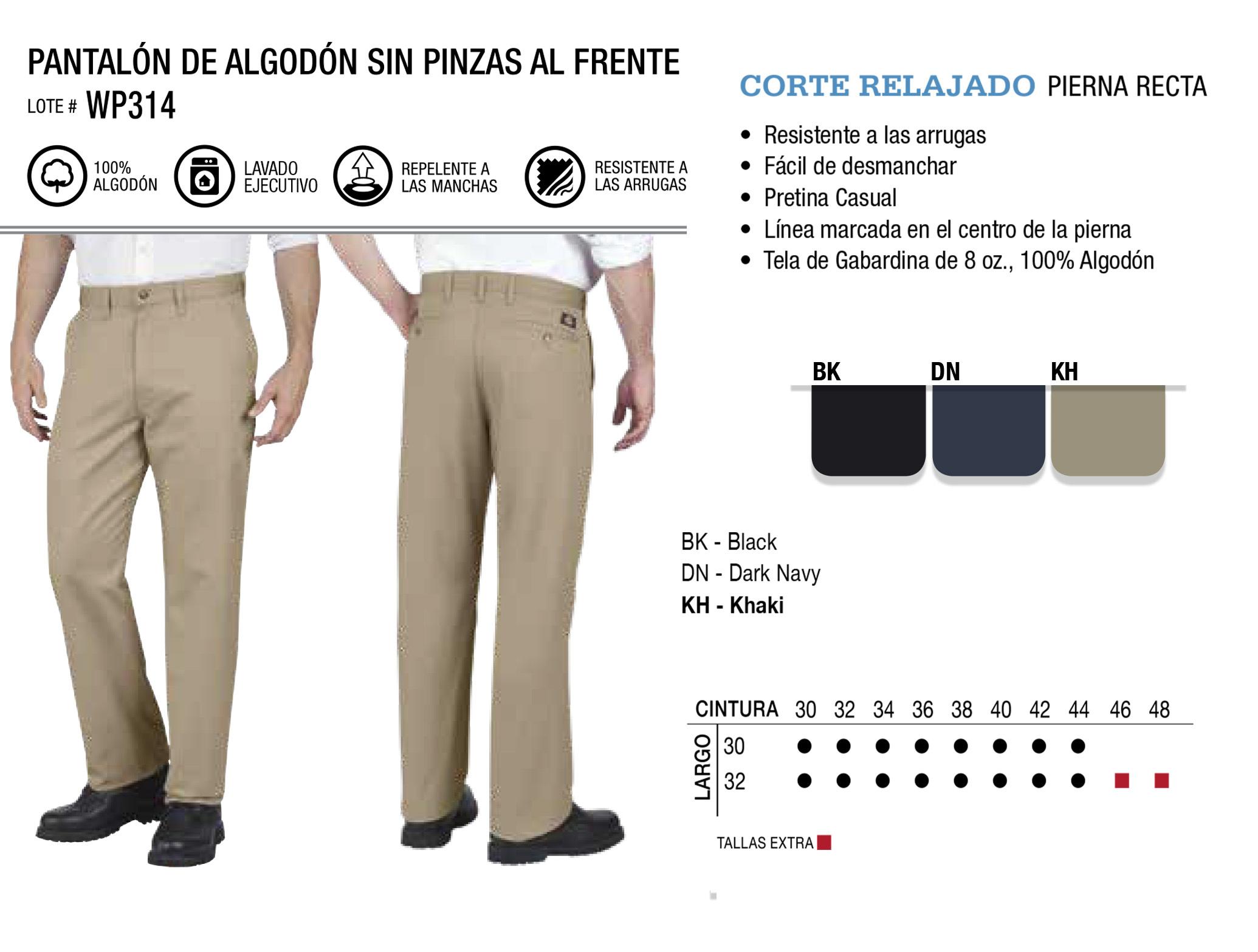 Pantalón de Algodón sin Pinzas al Frente. Corte Relajado. WP314.