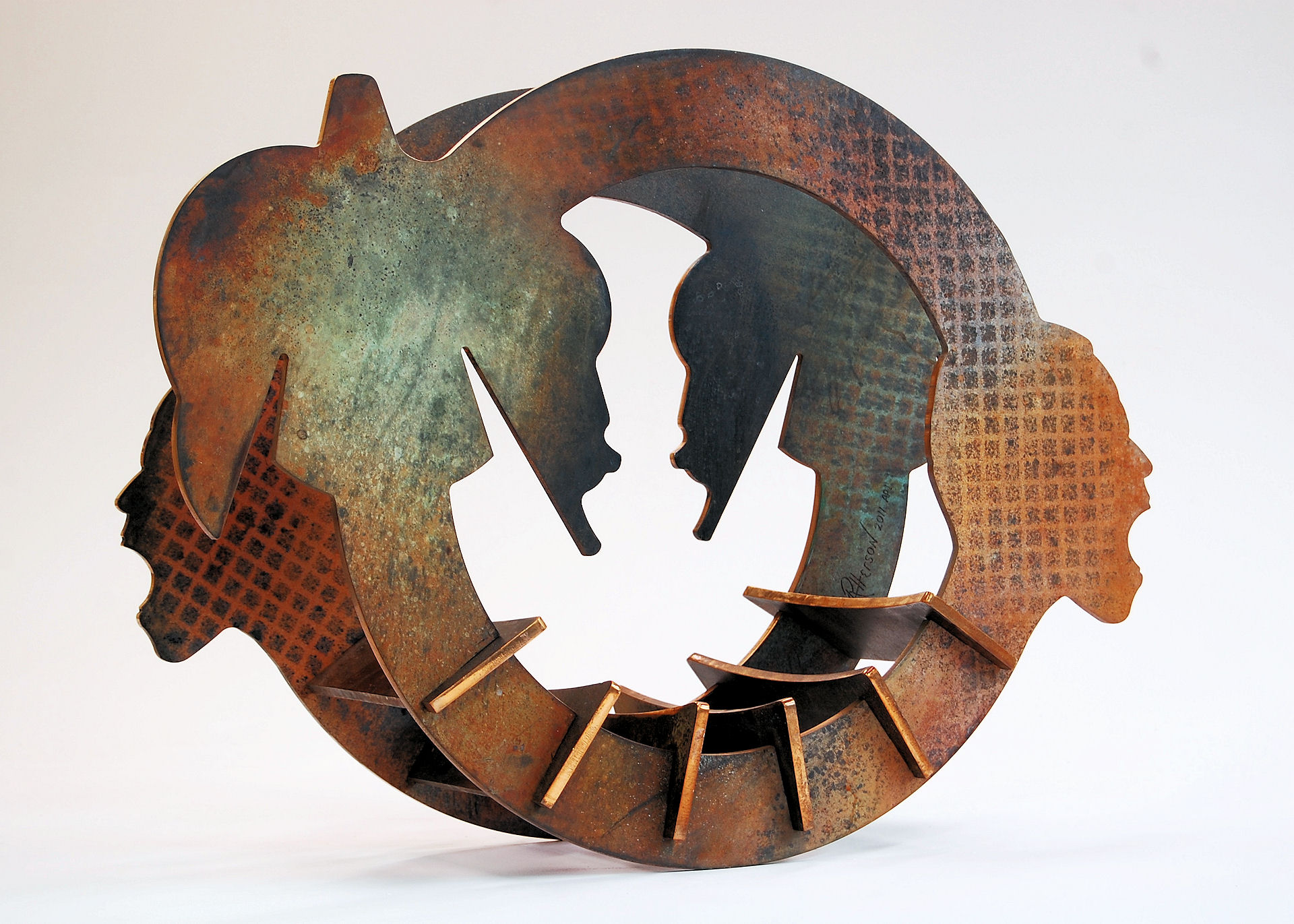 "Say It Loud - 2011, Fabricated Bronze with Patina, 36"" x 30"" x 18"""