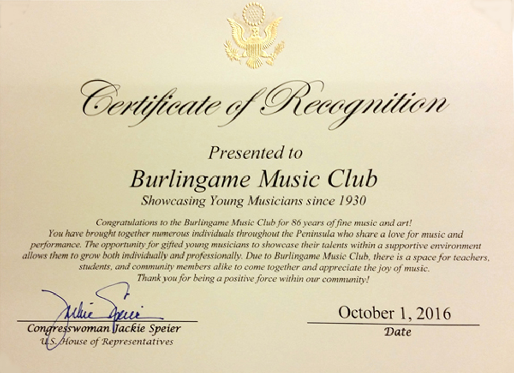 Image of Certificate of Recognition from October 2016 Fundraiser