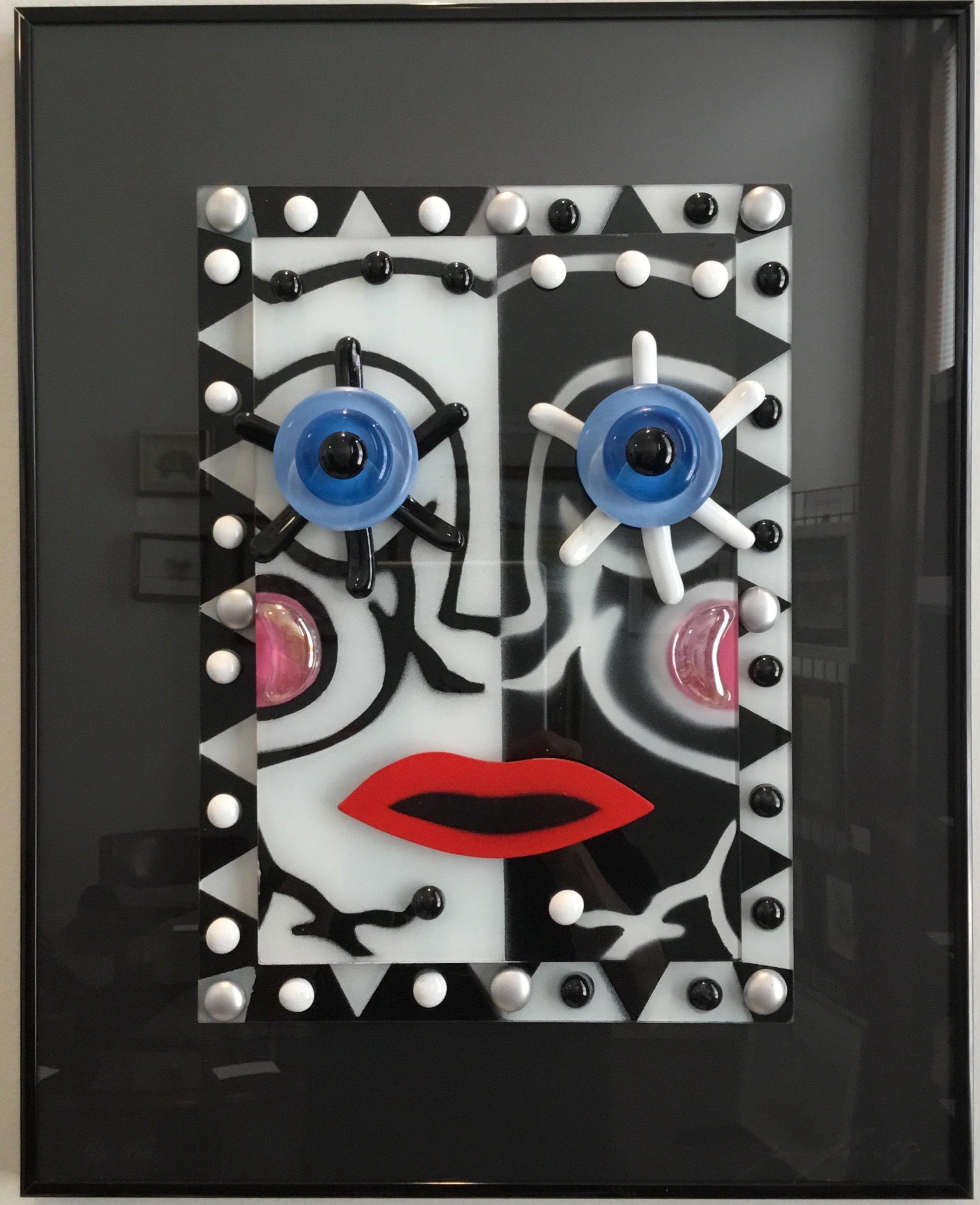 """Split Color Face  Glass Construction 16""""x20"""" $200."""