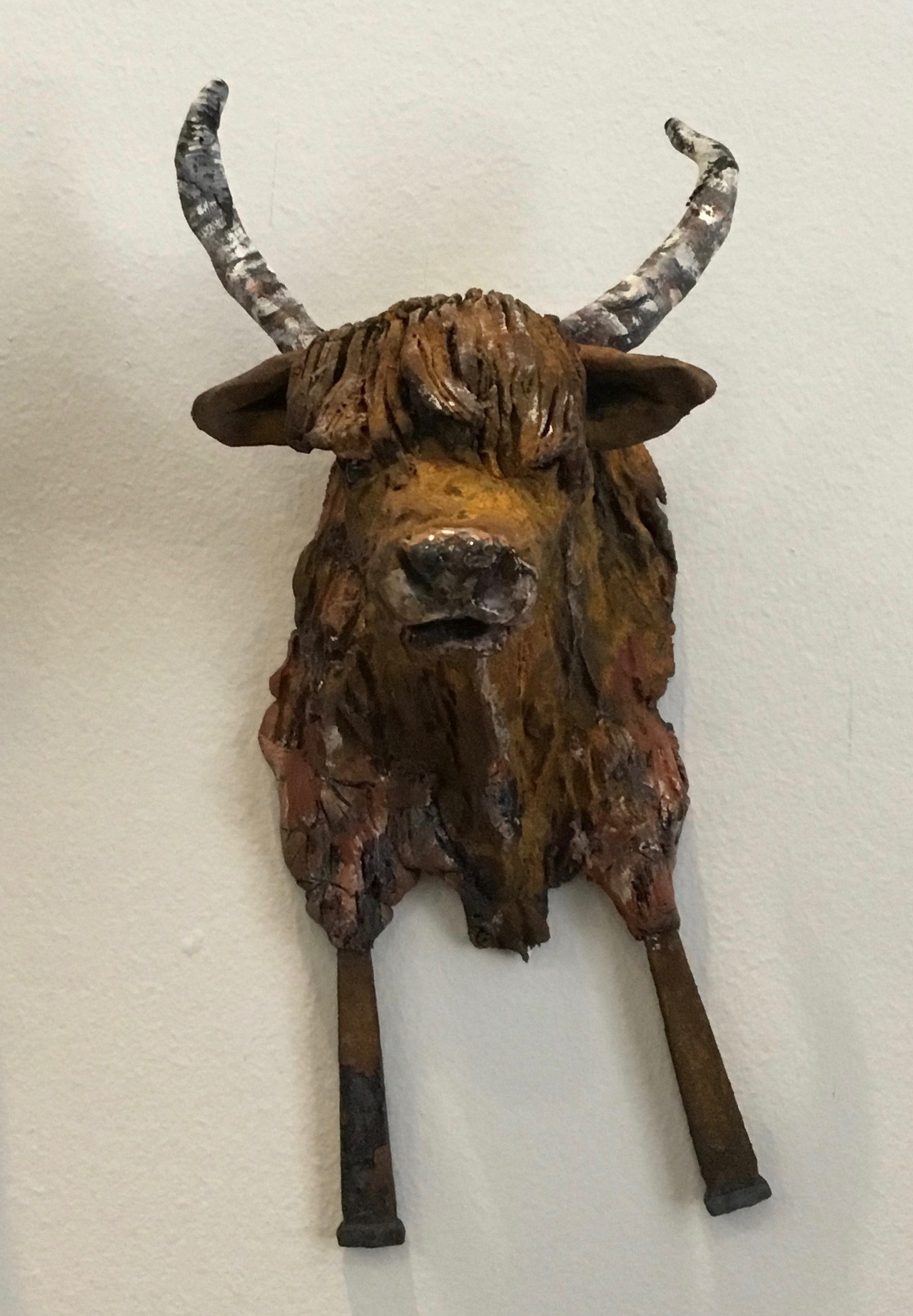 """Brown Horned Cow Ceramic 7.5"""" $110."""