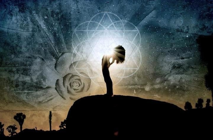 Shaman invoking a spiritual power