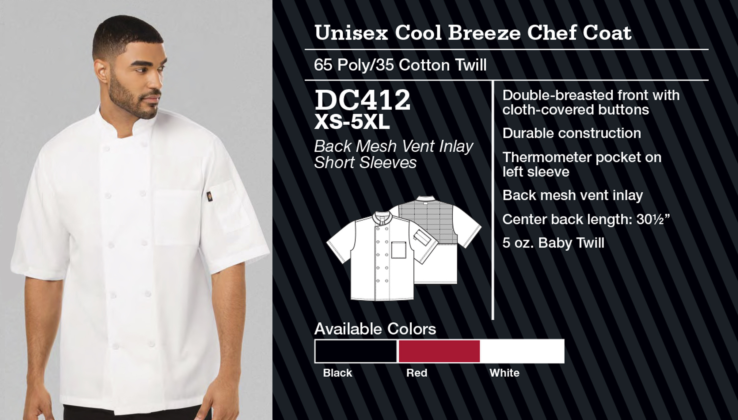 Abrigo de Chef Unisex Cool Breeze. Manga Corta. DC410.
