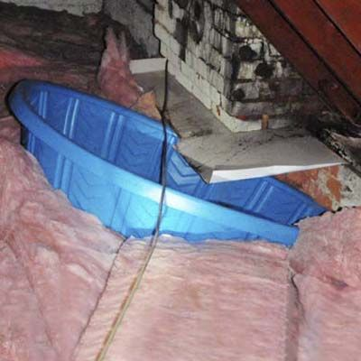 Kiddie Pool in Attic for Drainage