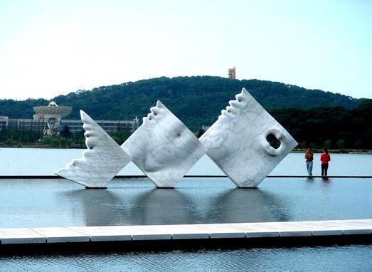 Mermaid, marble,  Shanghai Sculpture Park, China