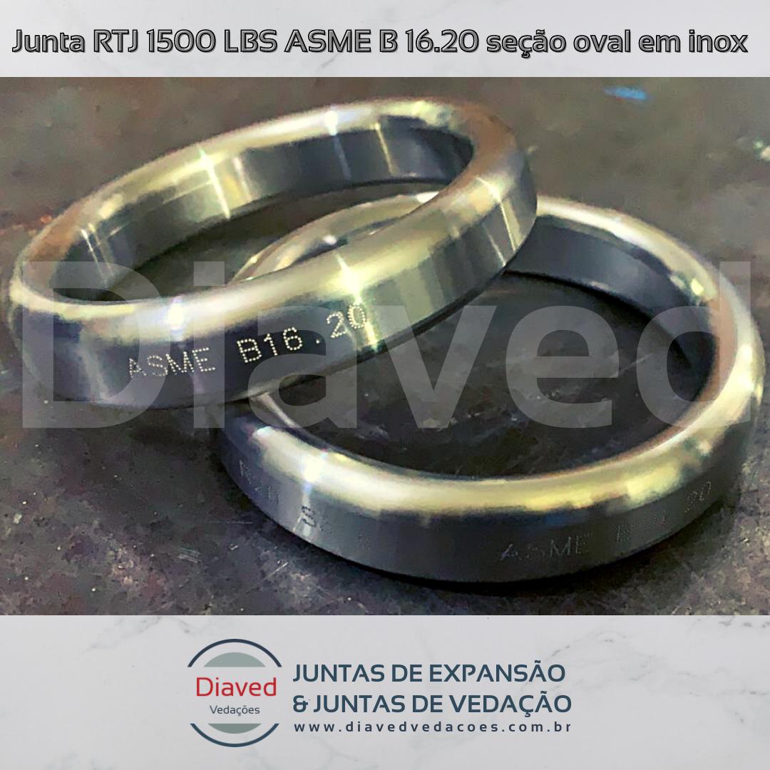 Junta RTJ 1500 LBS ASME B 16.20 seção oval em inox