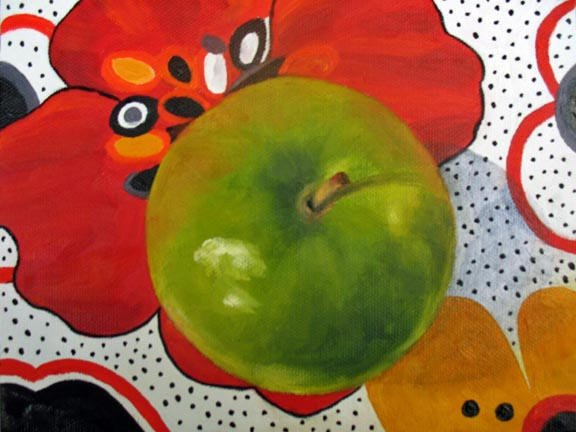 """Green Apple On Red - 6""""x8"""" Oil on Stretched Canvas  SOLD"""