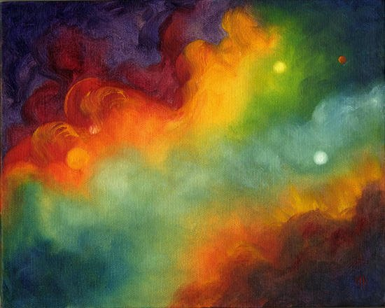 """Solar Storm ~ 8"""" x 10"""" Oil on Stretched Canvas   SOLD"""