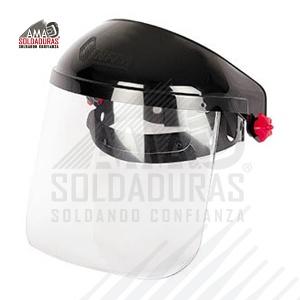 """PORTECTOR FACIAL AJUSTE DE MATRACA 3-PF-500-T Descripción: Diseñado para proteger cara, ojos y cuello. Capacidad de abatimiento de 90°. Visor de policarbonato. Visor estándar 12""""x 8"""". Útil para trabajos en los que se requiera protección de toda la cara, donde se maneja temperatura, protección contra chispas y salpicaduras. Suspensión con ajuste de matraca. Norma: ANSI/ISEA Z87.1-2010 , NMX-S-056-SCFI-2007, NRF-088-PEMEX-2005"""