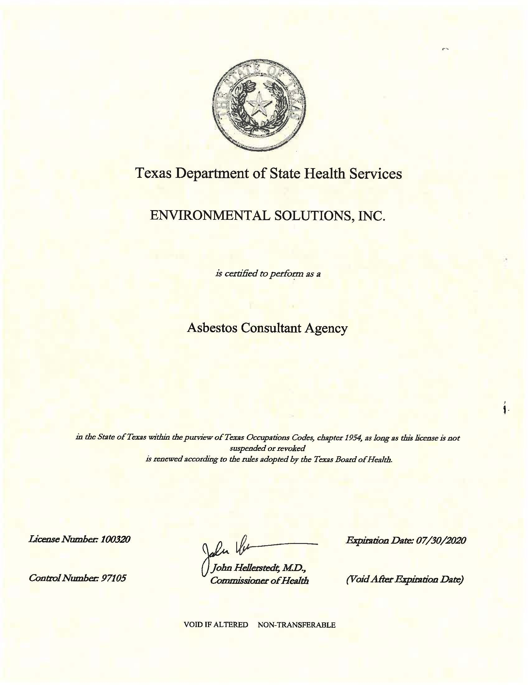 Asbestos Consultant Agency License