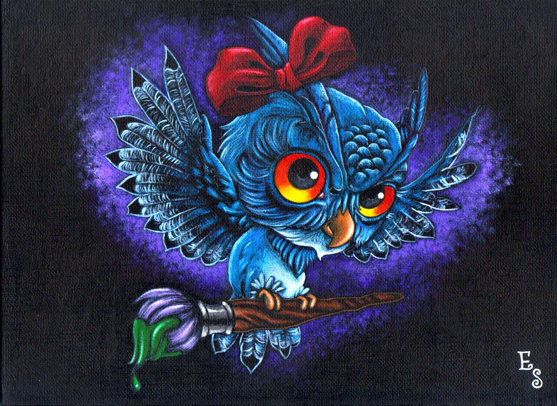 FriendShip Owl, 2018 Acrylic on Canvas Board  12 in × 9 in