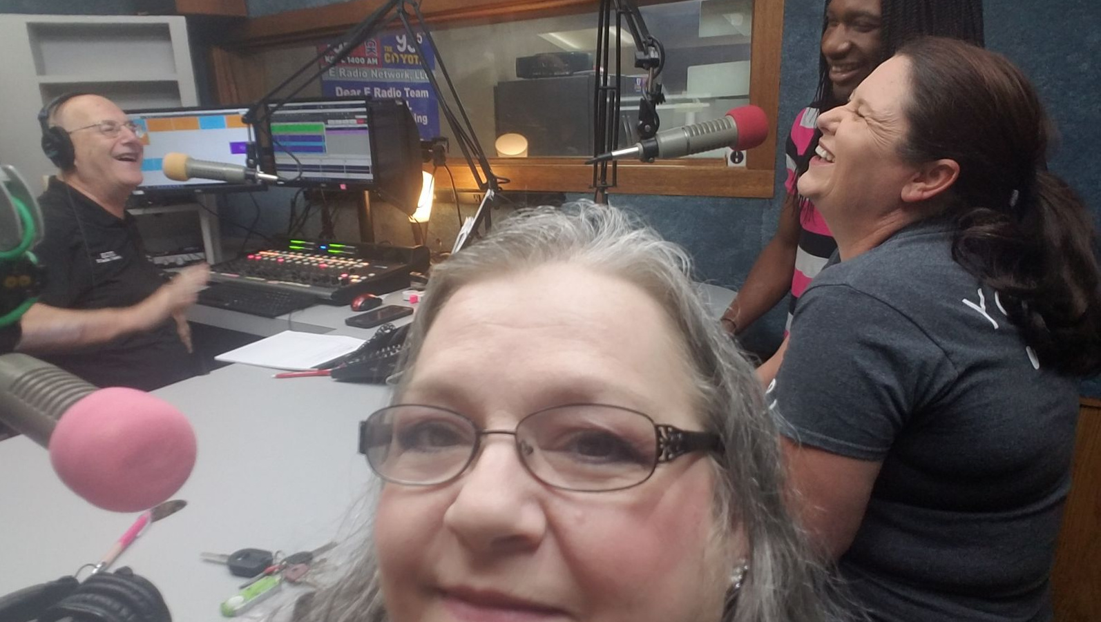 Lonnie J with KGVL local radio station interviews Pastor Deana Lowe, Meghan and Ty about the Chili Cook-Off/Games/Silent Auction Event and 1948 Fire Truck!