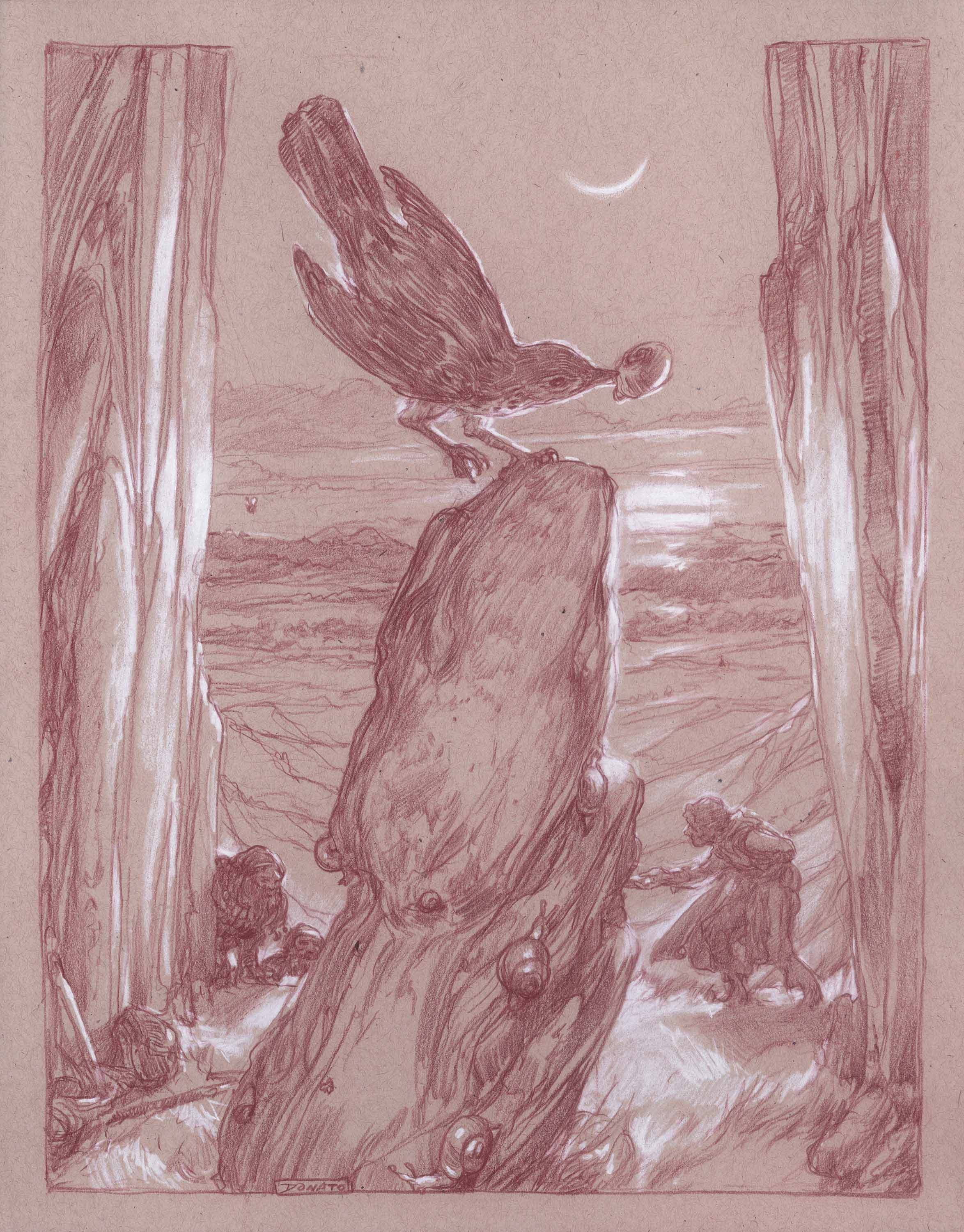 "When the Thrush Knocks 14"" x 11""  Watercolor Pencil and Chalk on Toned paper 2015 private collection"