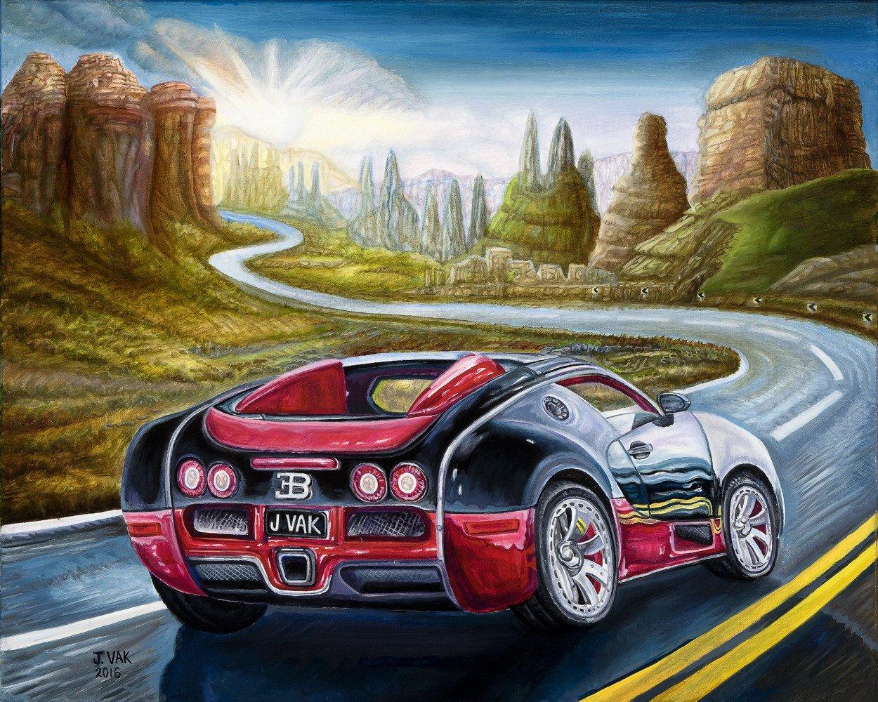 2014 Bugatti Veyron Fbg    24 X 30 Original Oil             $2500             2016