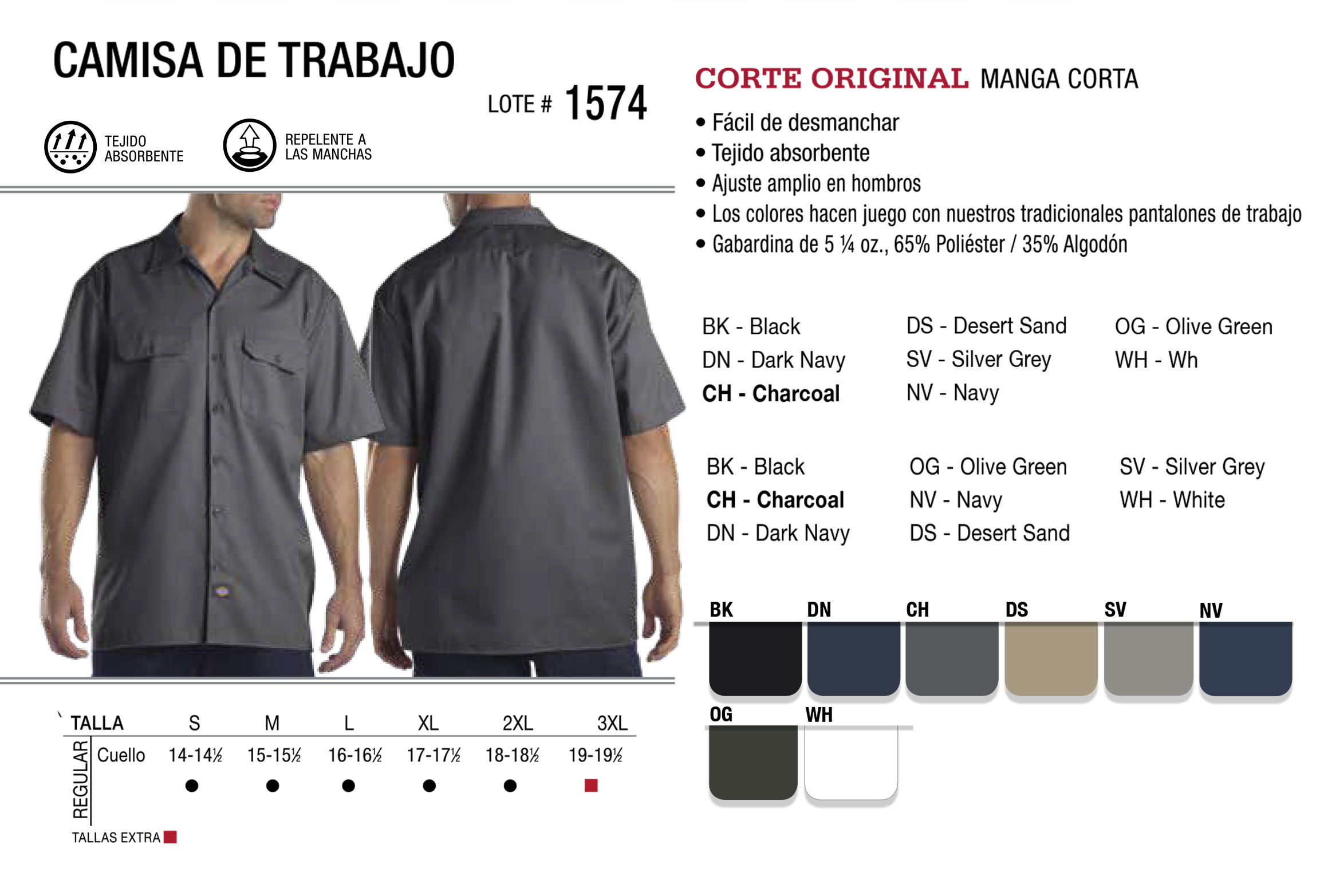 Camisa de trabajo. Manga corta. 1574