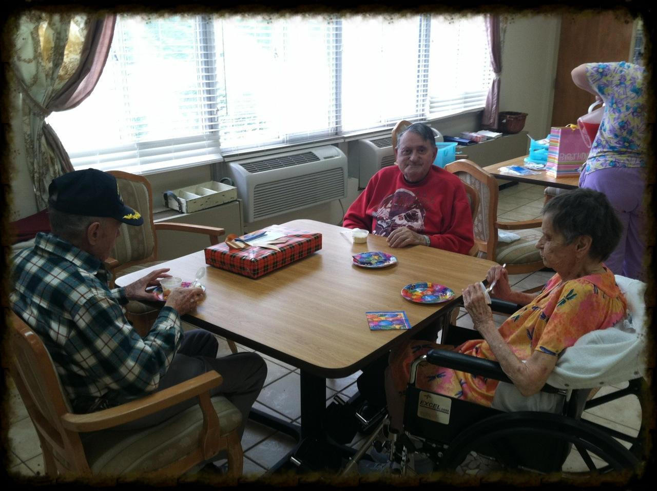 Church members enjoy celebrating birthdays with residents of Standing Stone Care & Rehab Center