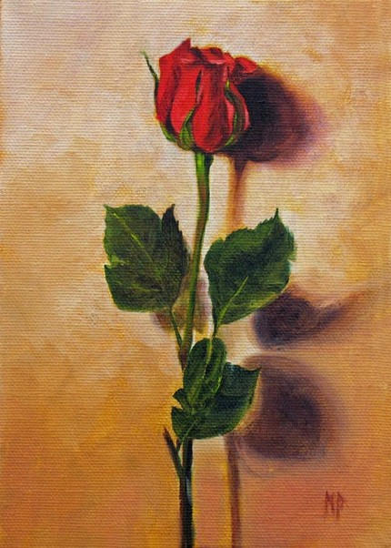 Red Rose ~ 5x7  Oil on canvas    SOLD