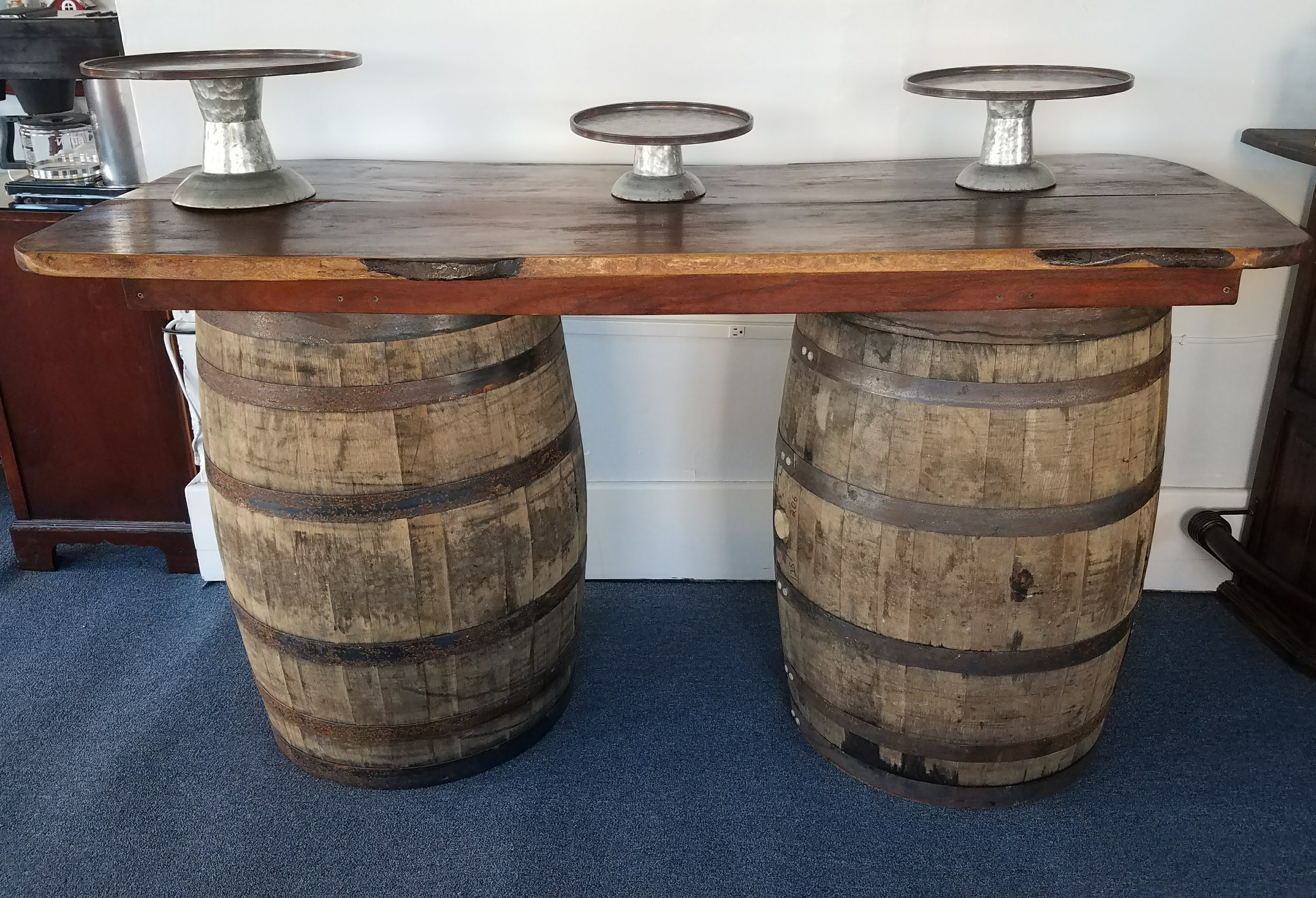 Whiskey Barrel Table $80 / Day