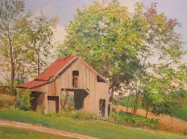 32. Corn Crib, Howard County Pond, 9x12 oil on canvas