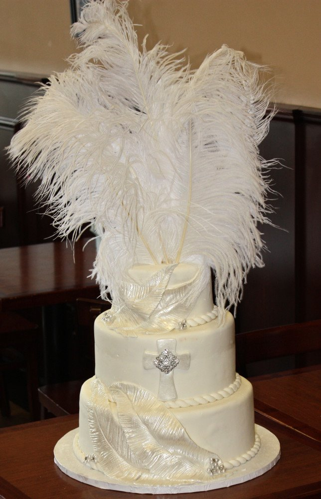Feathers and Pearls Communion Cake