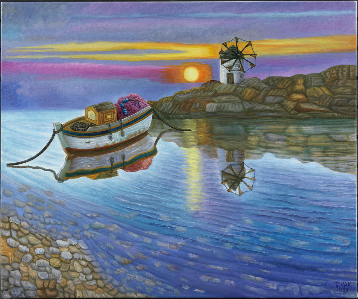 Sunset at Paros Island       30x36 Original Oil              $3850               2009