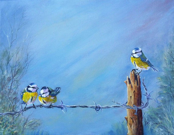 Birds on a Wire - Acrylic - SOLD