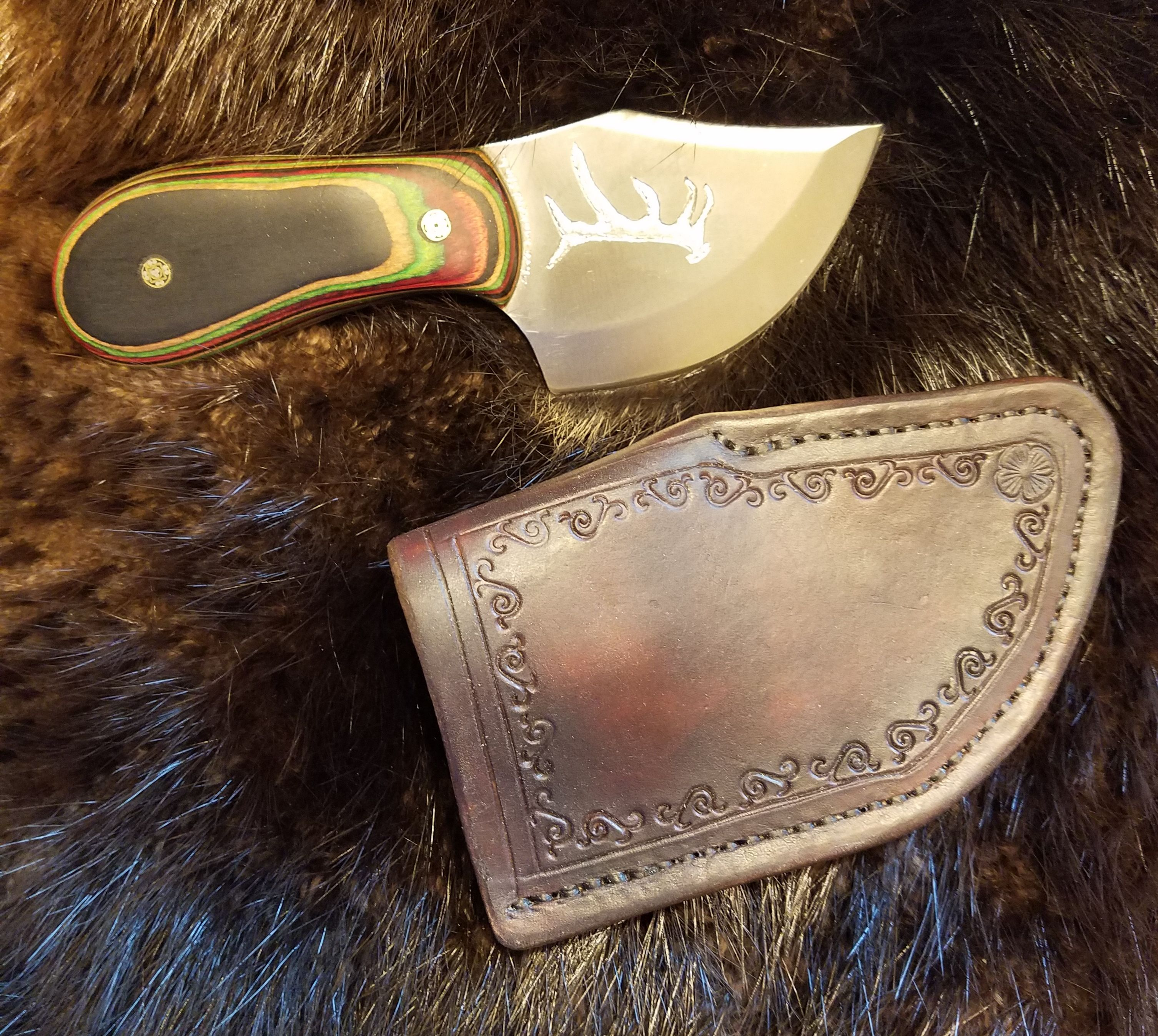 Antler Engraved Skinning Knife with Hand Tooled, Hand Stitched Leather Sheath,   $180.00
