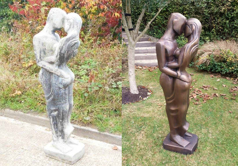 Thermal metal finishes. Before and after - bronze finished stone sculpture