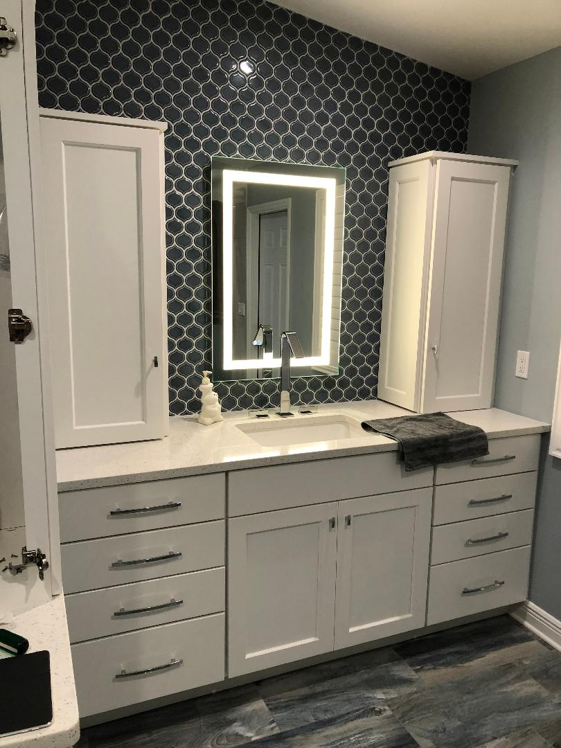 Featuring white cabinetry with front lit mirror and rick blue patterned backsplash.