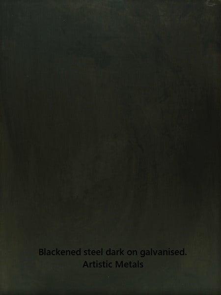 Blackened steel finish dark on galvanised steel. Artistic Metals.