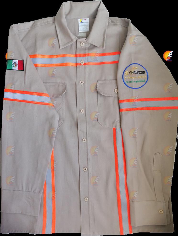 Camisola beige con reflejante (tipo chaleco de seguridad)