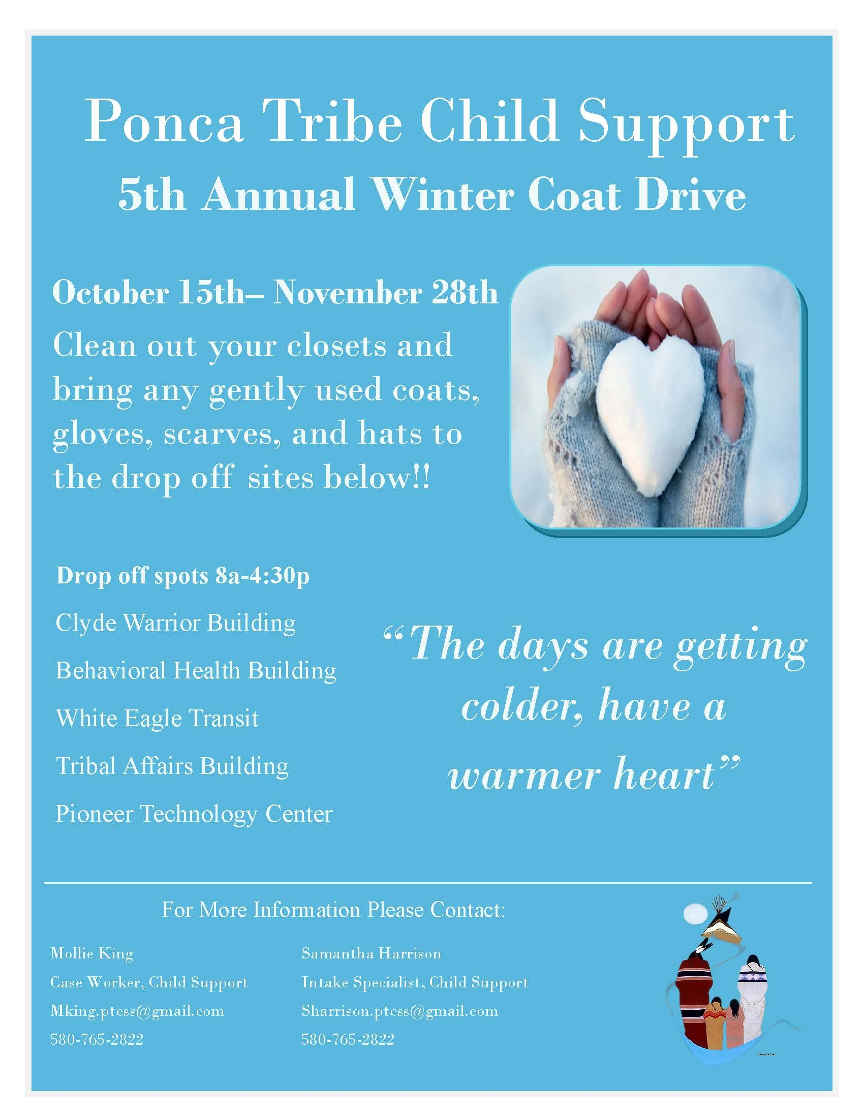 Ponca Tribe Child Support 5th Annual Winter Coat Drive