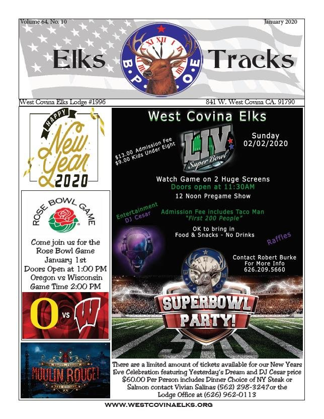 January Elks Tracks Front Page