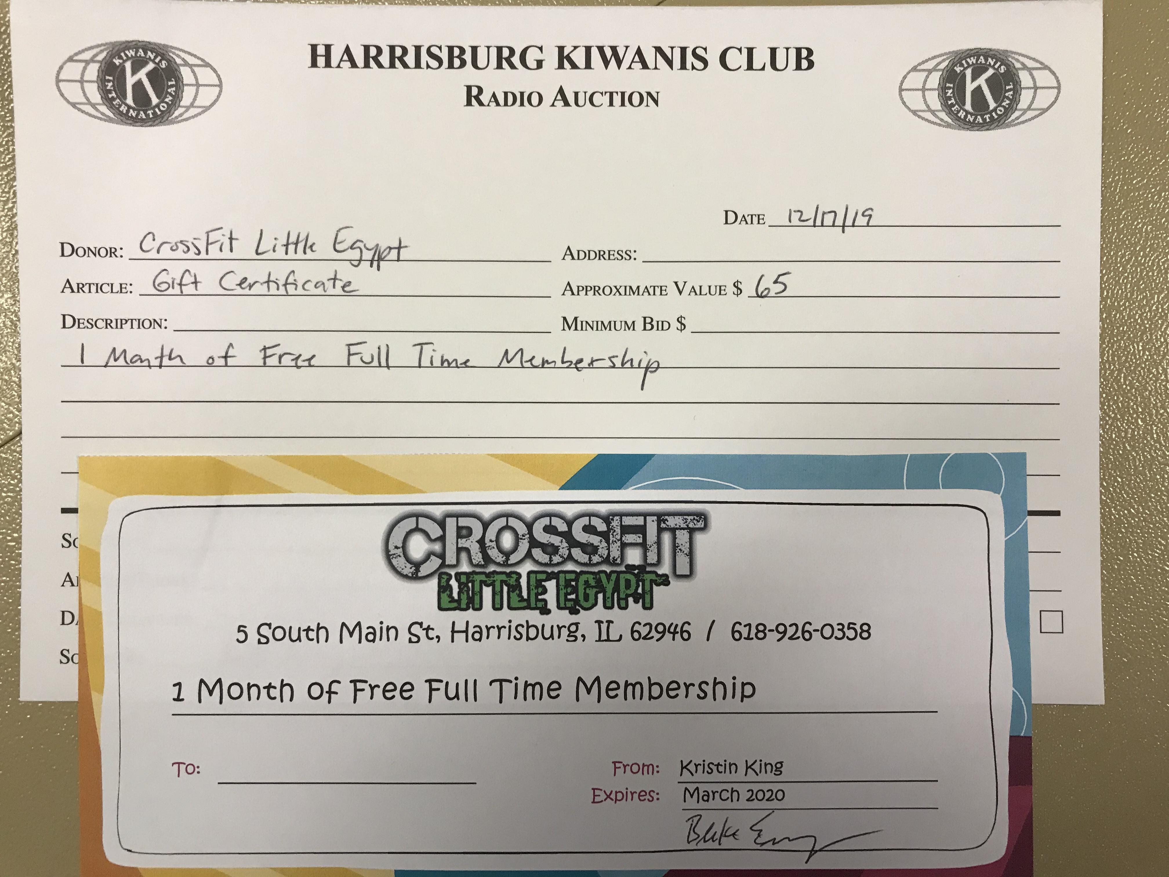 Item 315 - CrossFit Little Egypt 1 Month Free Membership