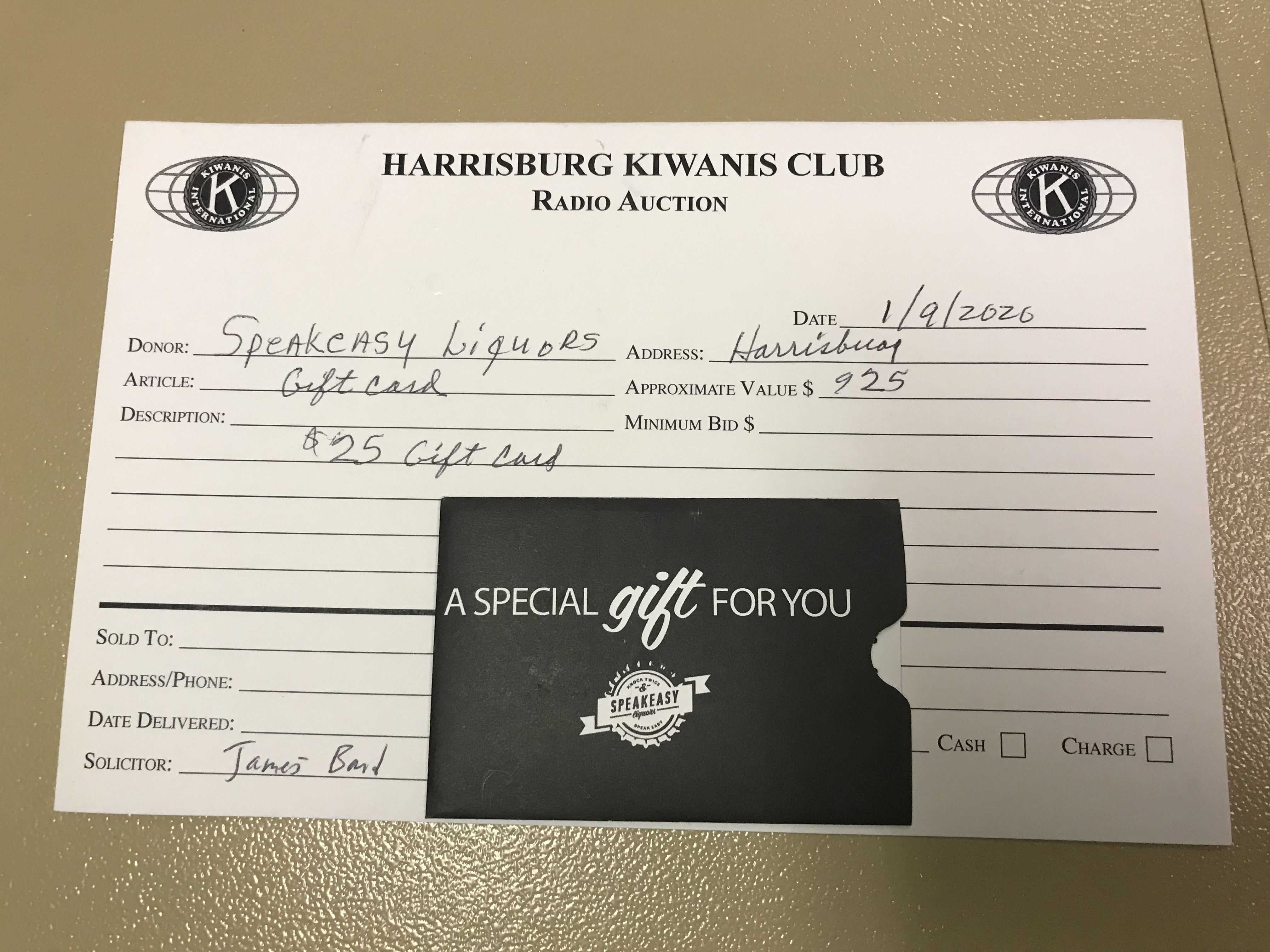 Item 209 - Speakeasy Liquor $25 Gift Card