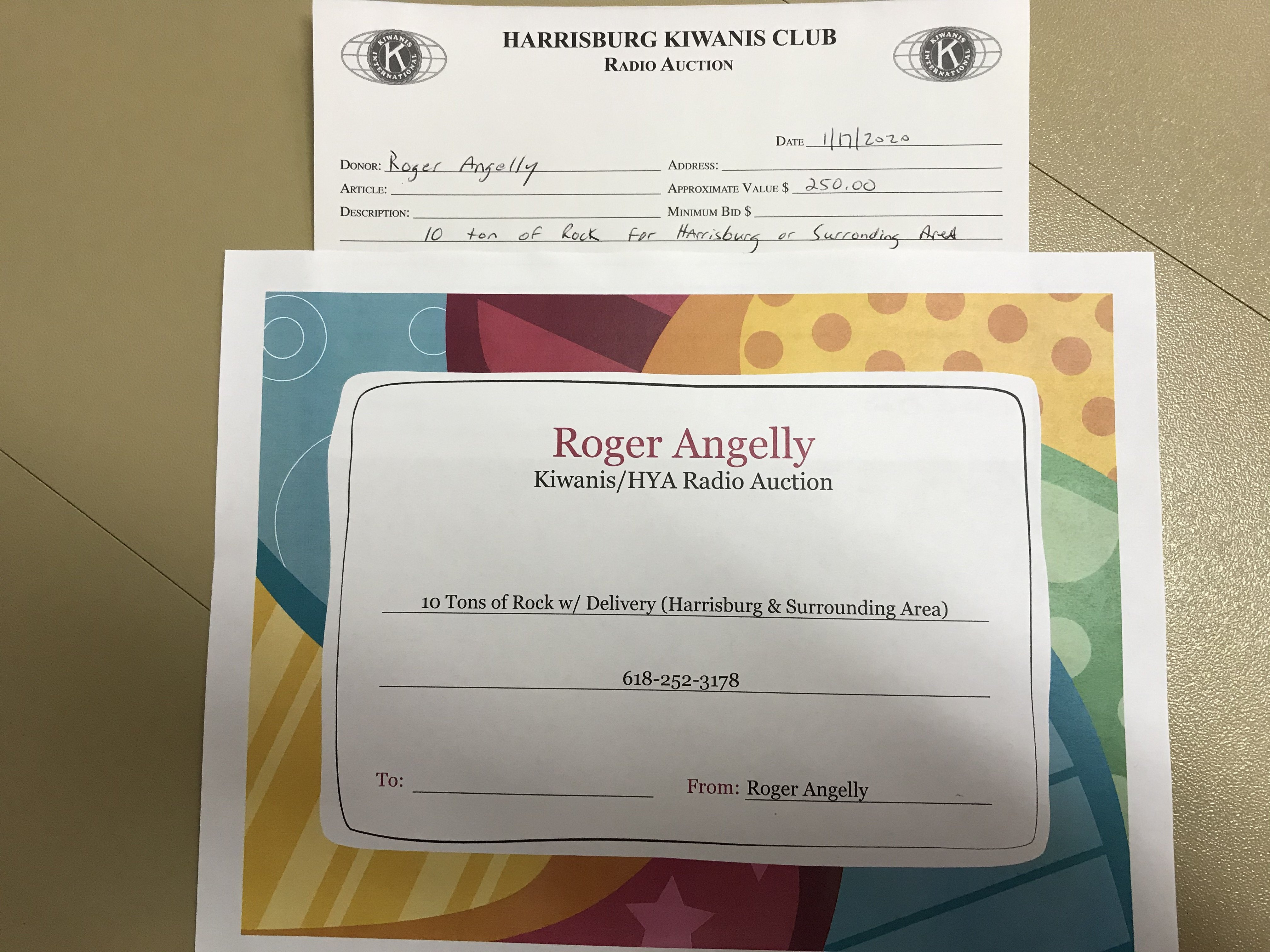 Item 512 - Roger Angelly 10 tons rock with delivery to Harrisburg & surrounding area