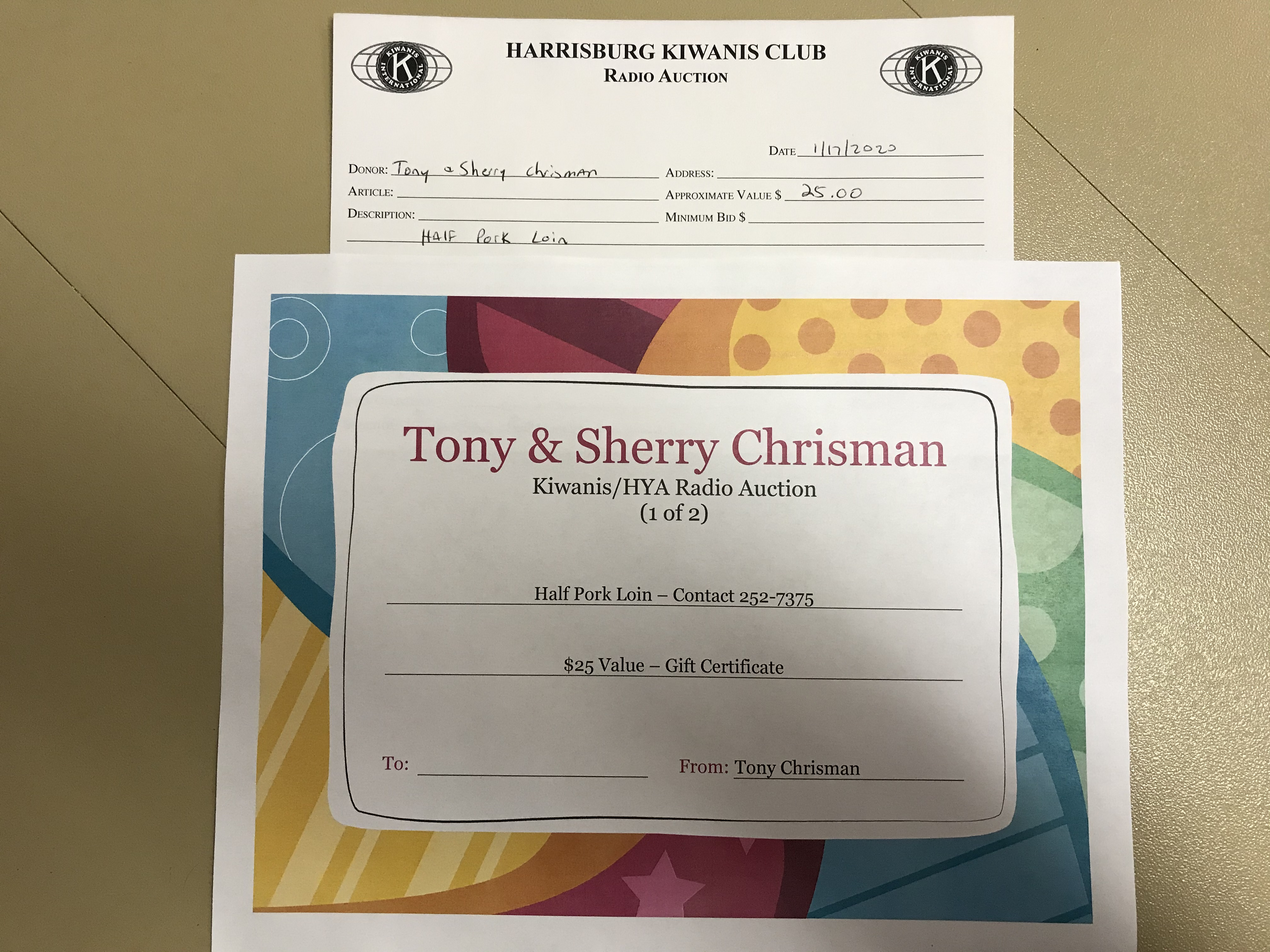 Item 424 - Tony & Sherry Chrisman Half Pork Loin