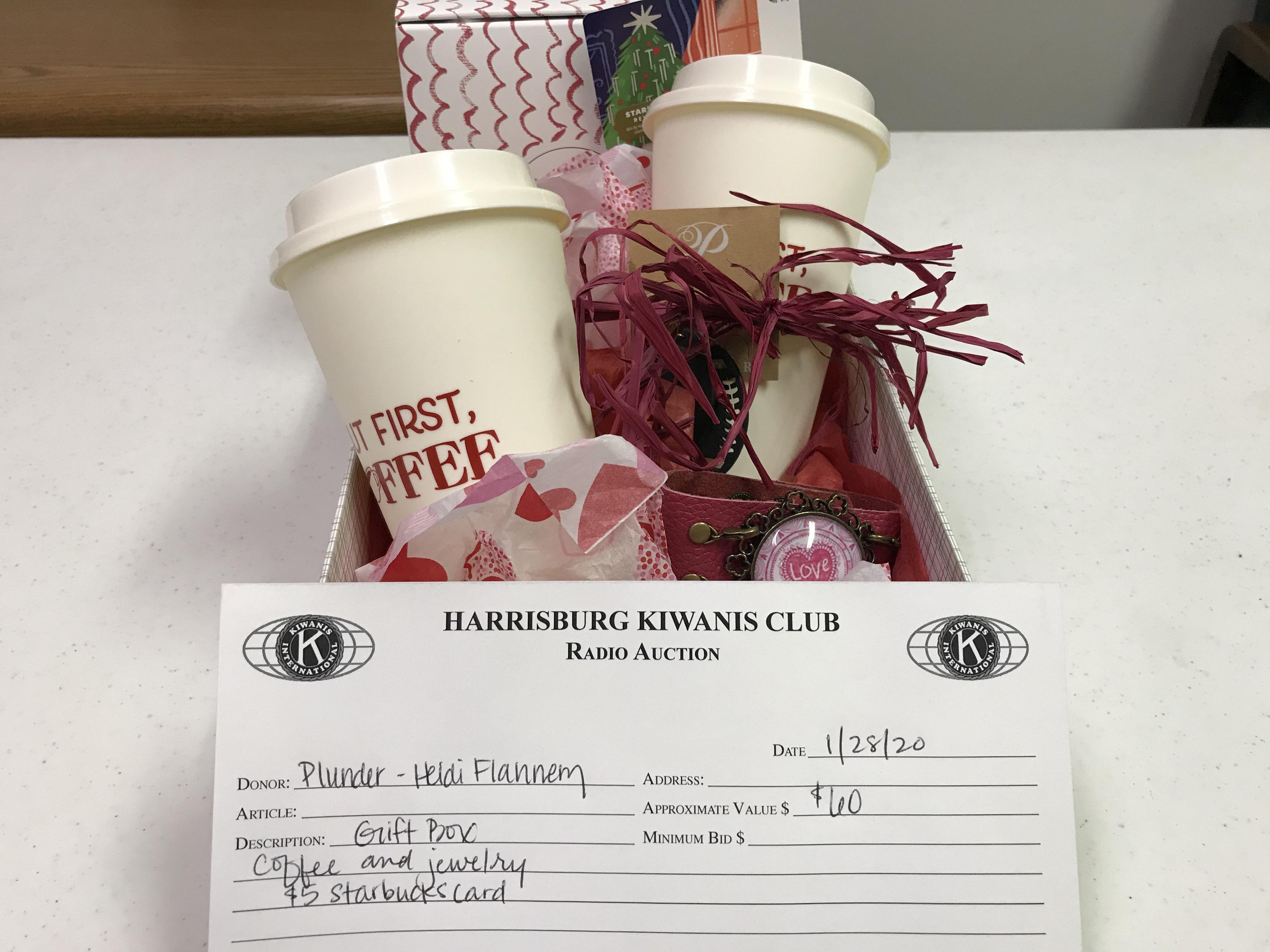 Item 122 - Plunder - Heidi Flannery Gift Box - Jewelry, Coffee Items, $5 Starbucks Card