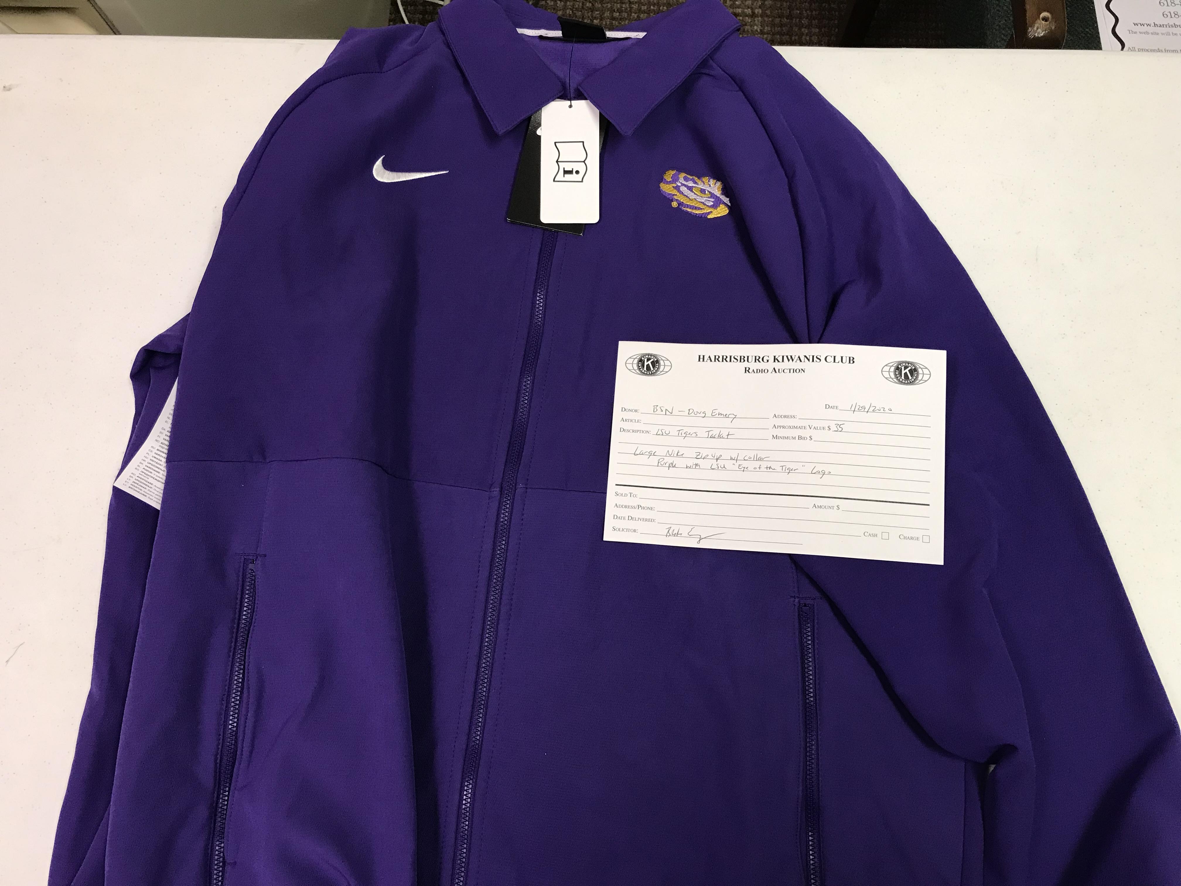 Item 116 - BSN - Doug Emery Nike Large LSU Tigers Zip Up with Collar