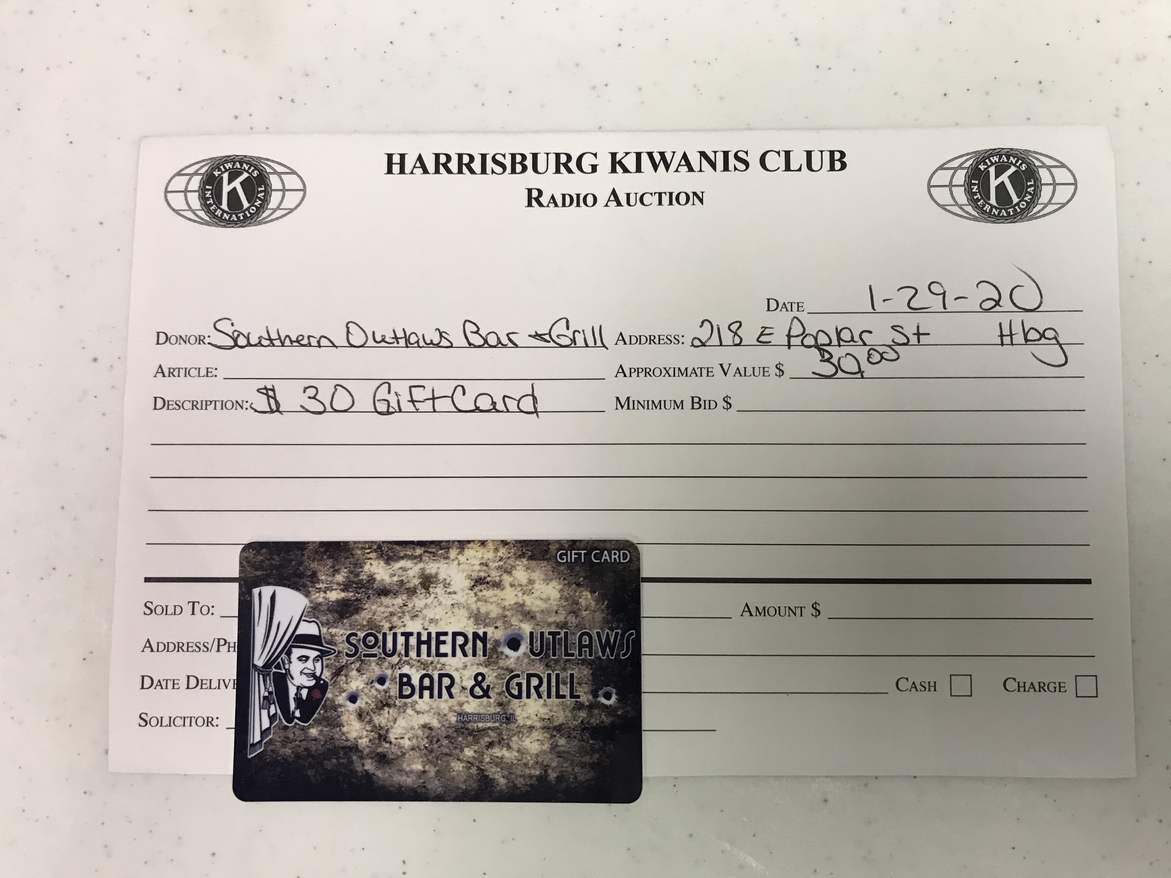 Item 312 - Southern Outlaws Bar & Grill $30 Gift Card