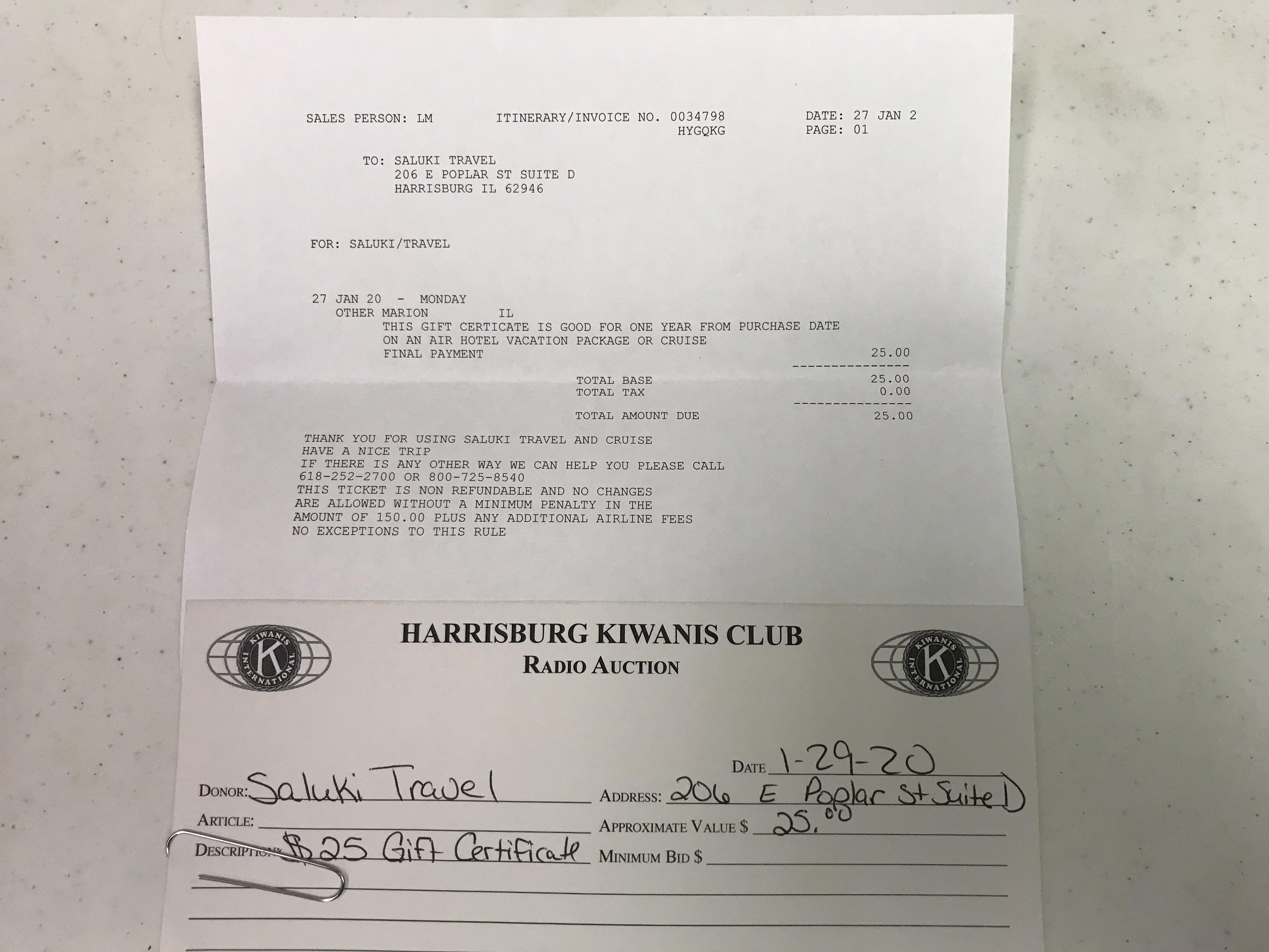 Item 318 - Saluki Travel $25 Gift Certificate
