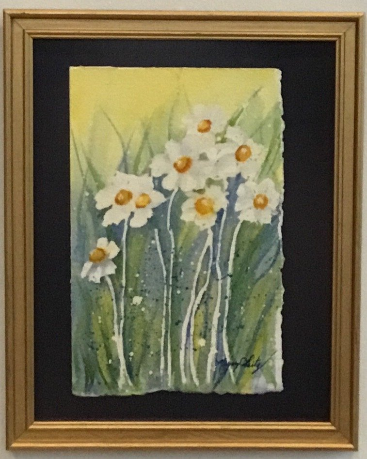"White Flowers Watercolor 8"" X 11.5"" $175."