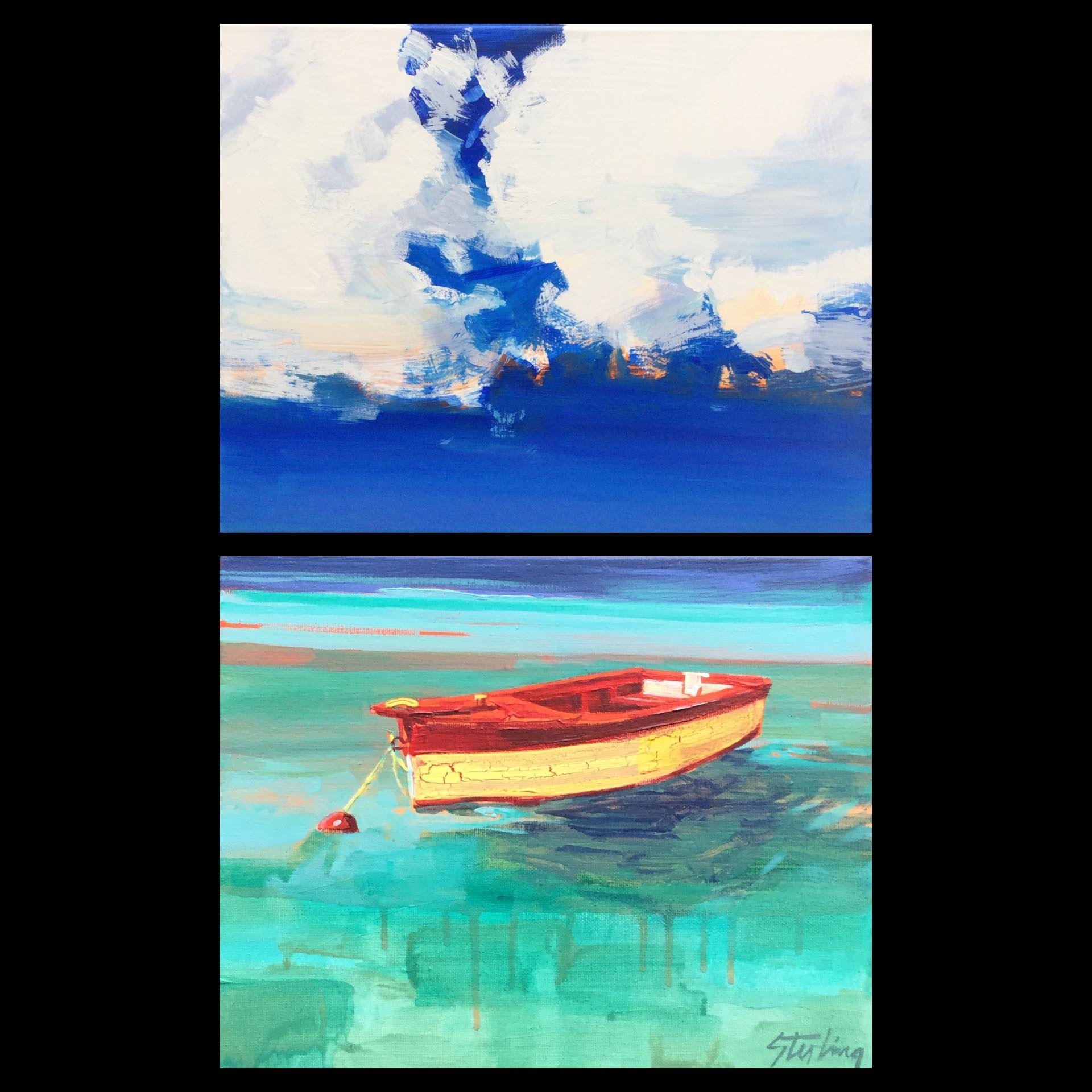 Lost Horizon 22x14 diptych acrylic on canvas