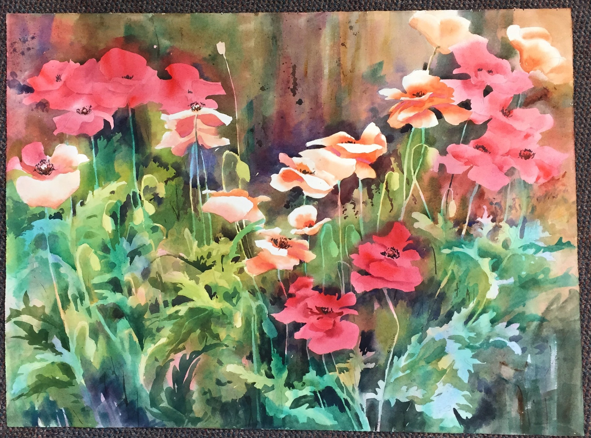 "Georgia Newton Poppies Watercolor 30"" X 22"" $150."