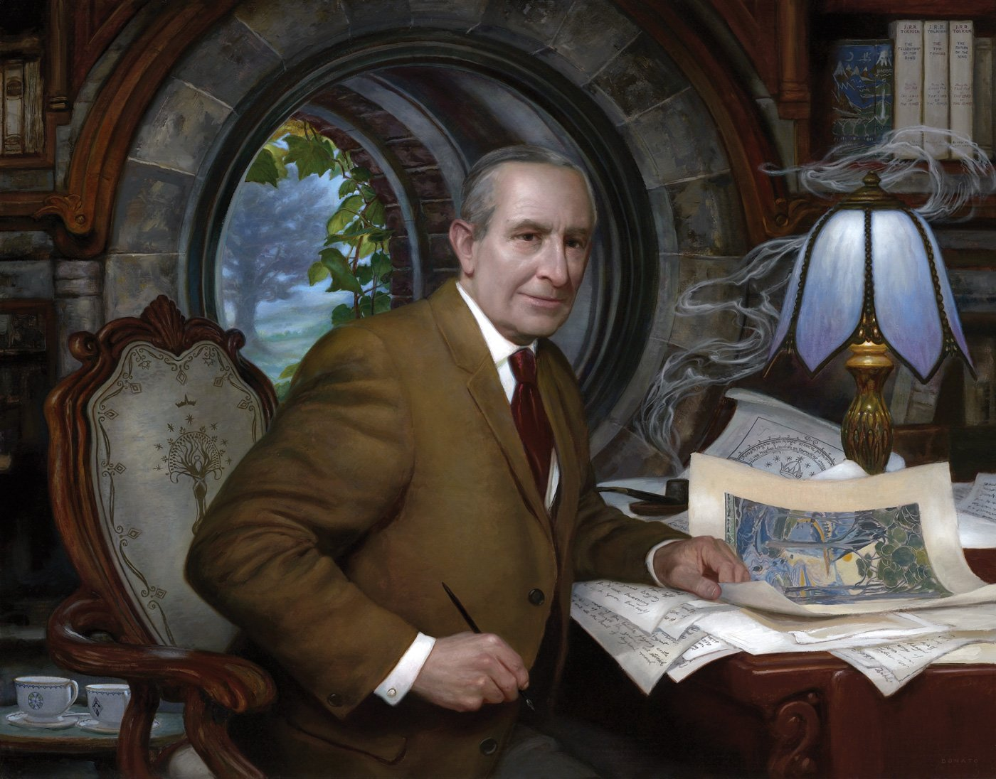 "J.R.R. Tolkien 33"" x 42""  Oil on Panel  2012 portrait of the writer and artist private collection"