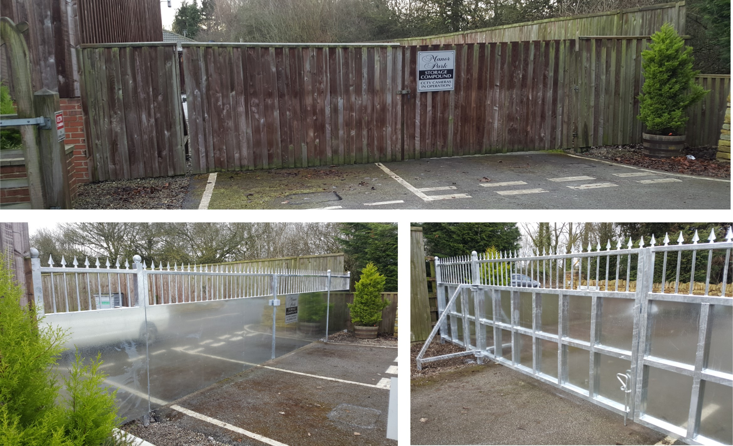 Old wooden entrance gate replaced with galvanised gates & side panels.