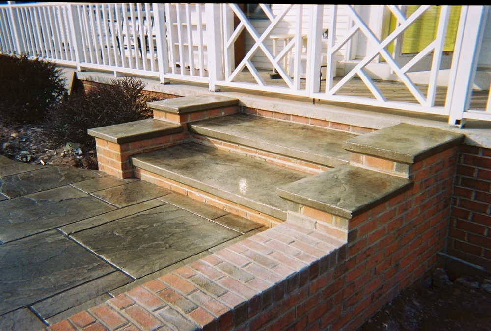 Stunning stamped concrete steps