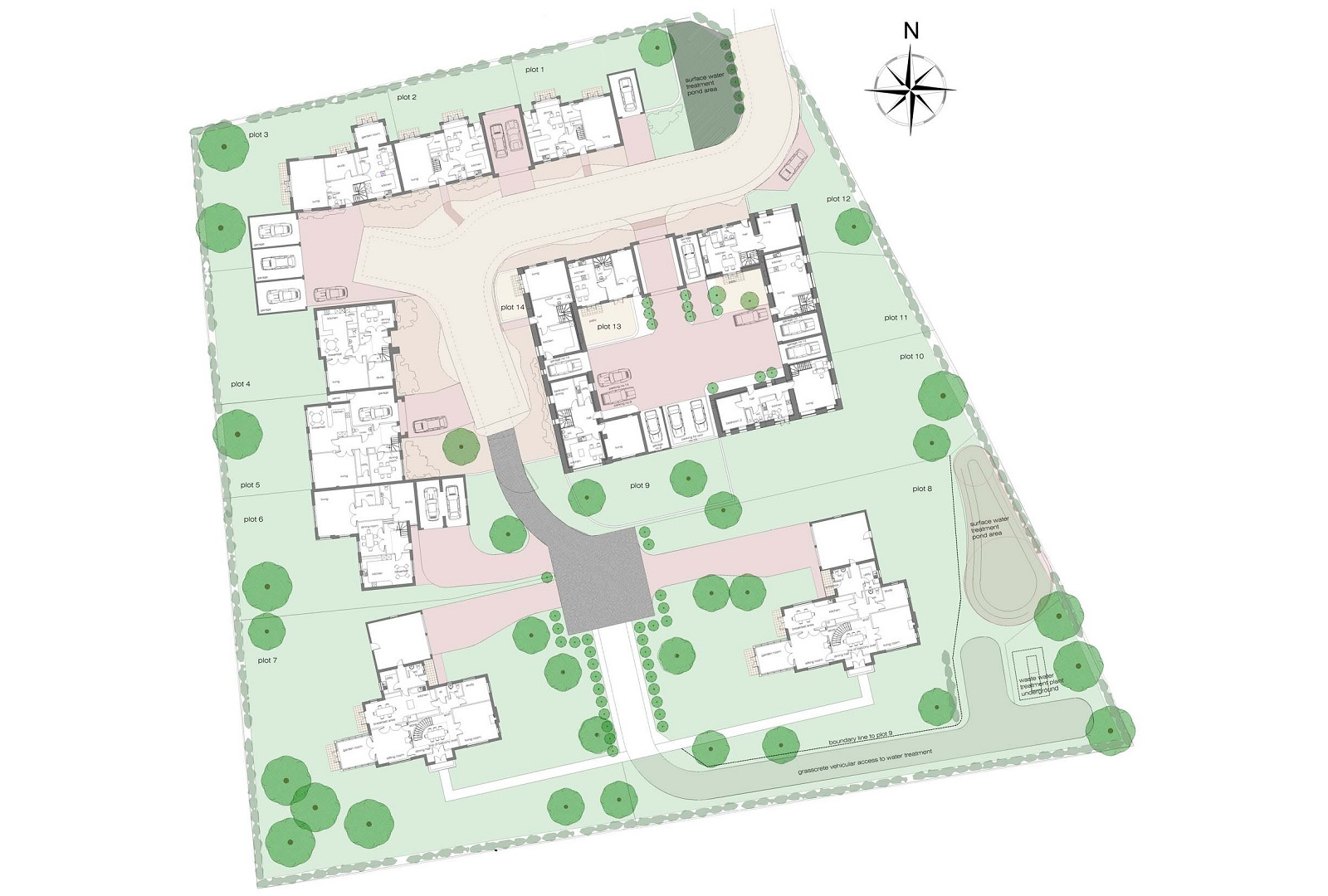 Site Layout indicating the Ground Floor Plans