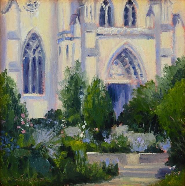 """Jean Schwartz, Bishops Garden,  12"""" x 12"""" Oil SOLD"""
