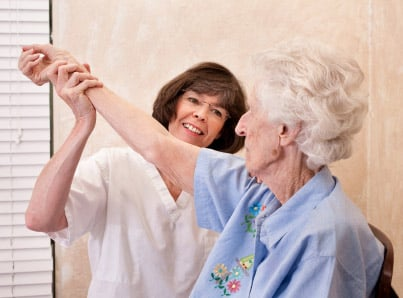 Senior woman having physical therapy